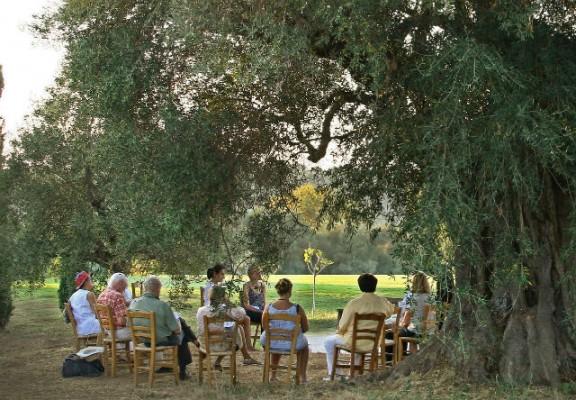 <h2>Auf den Spuren von Platon, Aristoteles & Co.</h2>Bei den philosophischen Spaziergängen, die vom Resort angeboten werden, lässt sich nicht nur über den perfekten Schwung philosophieren (Foto: Costa Navarino).