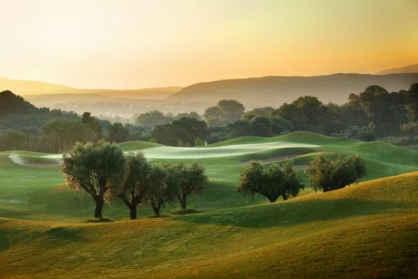 <h2>Oliven-und Zitronenhaine</h2>...spiegeln die hinteren Löcher die typisch griechische Landschaft wider (Foto: Costa Navarino).