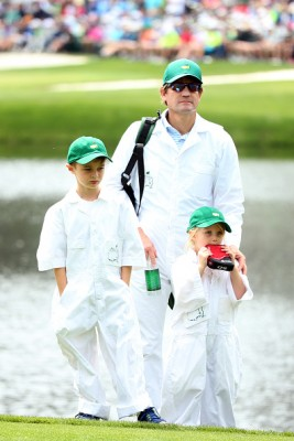 AUGUSTA, GEORGIA - APRIL 06: Charlotte and Leo Rose, the children of Justin Rose of England look on during the Par 3 Contest prior to the start of the 2016 Masters Tournament at Augusta National Golf Club on April 6, 2016 in Augusta, Georgia. (Photo by Andrew Redington/Getty Images)