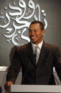 Golfer Tiger Woods bei einer Ansprache in Dubai