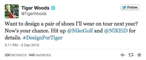 So kündigte Tiger Woods bei Twitter den Design-Wettbewerb an. (Foto: twitter.com/TigerWoods)