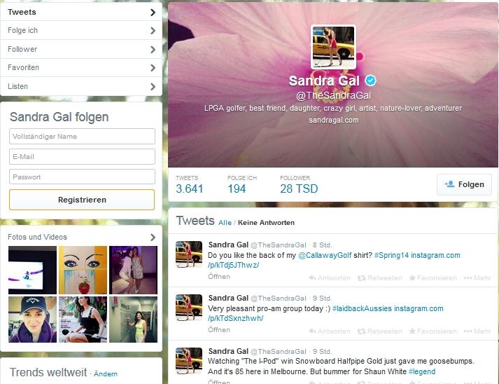 Sandra Gal auf Twitter