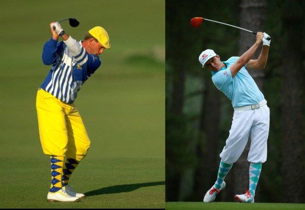 Payne Stewart (re.) und Rickie Fowler 25 Jahre später bei der US Open 2014: Ein Tribut an einen Golfer, der wenige Monate nach seinem US-Open-Sieg 1999 in einem trgischen Flugzeugunglück ums Leben kam. (Foto: Getty/Golf Post)