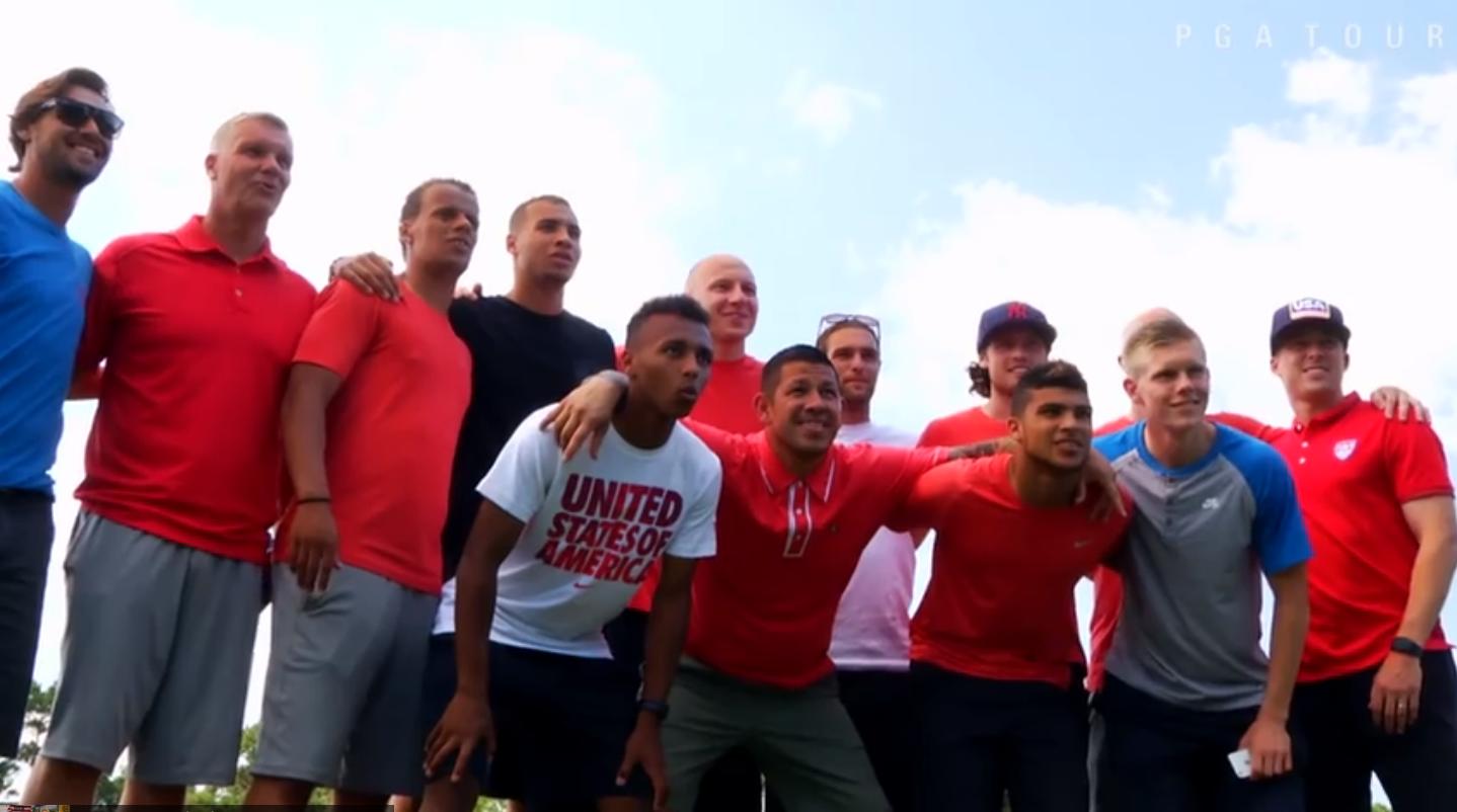 Die Fußball-Nationalmannschaft der USA auf im TPC Sawgrass (Foto: Youtube)