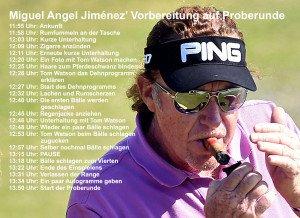 Die Vorbereitung von Miguel Angel Jimenéz vor einer wichtigen Golfrunde! (Foto: Getty)
