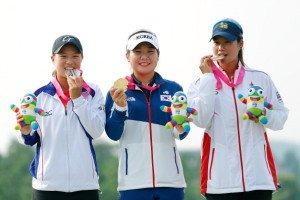 Ssu-Chia Cheng aus Taiwan, So-Young Lee aus Südkorea und Supamas Sangchan aus Thailand (v.l.)