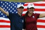 Hannah O'Sullivan (r.) und Austin Connelly gewinnen mit dem Team USA den Junior Ryder Cup.