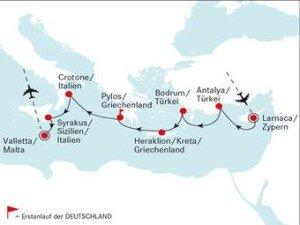 Die zweite Route der DEUTSCHLAND führt zu den schönsten Golfplätzen zwischen Zypern und Sizilien. (Foto: deilmann-kreuzfahrten)