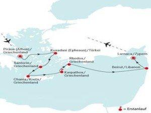 Die erste Golfkreuzfahrt-Route der DEUTSCHLAND führt in die Region des östlichen Mittelmeers. Golfbegeisterte Reisende können hier beispielsweise auf Rhodos oder im Libanon abschlagen. (Foto: deilmann-kreuzfahrten)
