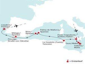Letztlich bereist die DEUTSCHLAND auch spanische Inseln wie Ibiza oder Mallorca. Das Abenteuer auf hoher See endet dann in Lissabon. (Foto: deilmann-kreuzfahrten)