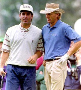 Fred Couples(L) of the U.S. and Greg Norman of Aus