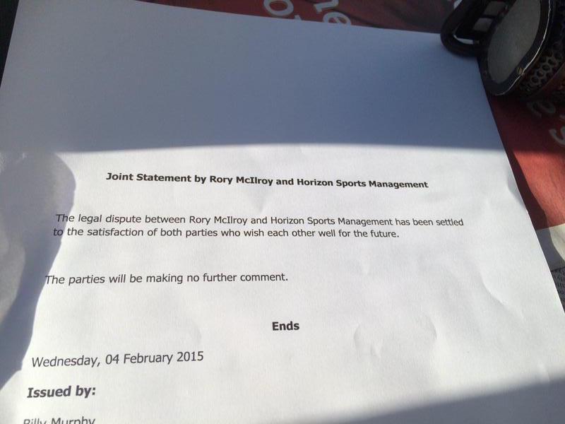 Offizielles Statement in McIlroys Verfahren