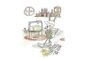 Teil des Ostergewinnspiels: Robbie Rabbit bei seinen Golf Übungen im Wohnzimmer. (Bild: Golf Post)