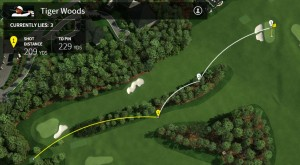 Vom Rough aus rettet Tiger Woods seinen Schlag auf der Neun auf's Grün. Den 15-Meter-Putt kann er jedoch nicht einlochen. (Foto: Masters.com)