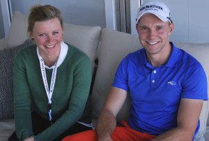 Golf-Post-Redakteurin Juliane Bender und Max Kieffer bei der BMW International Open in München. (Foto: GP)
