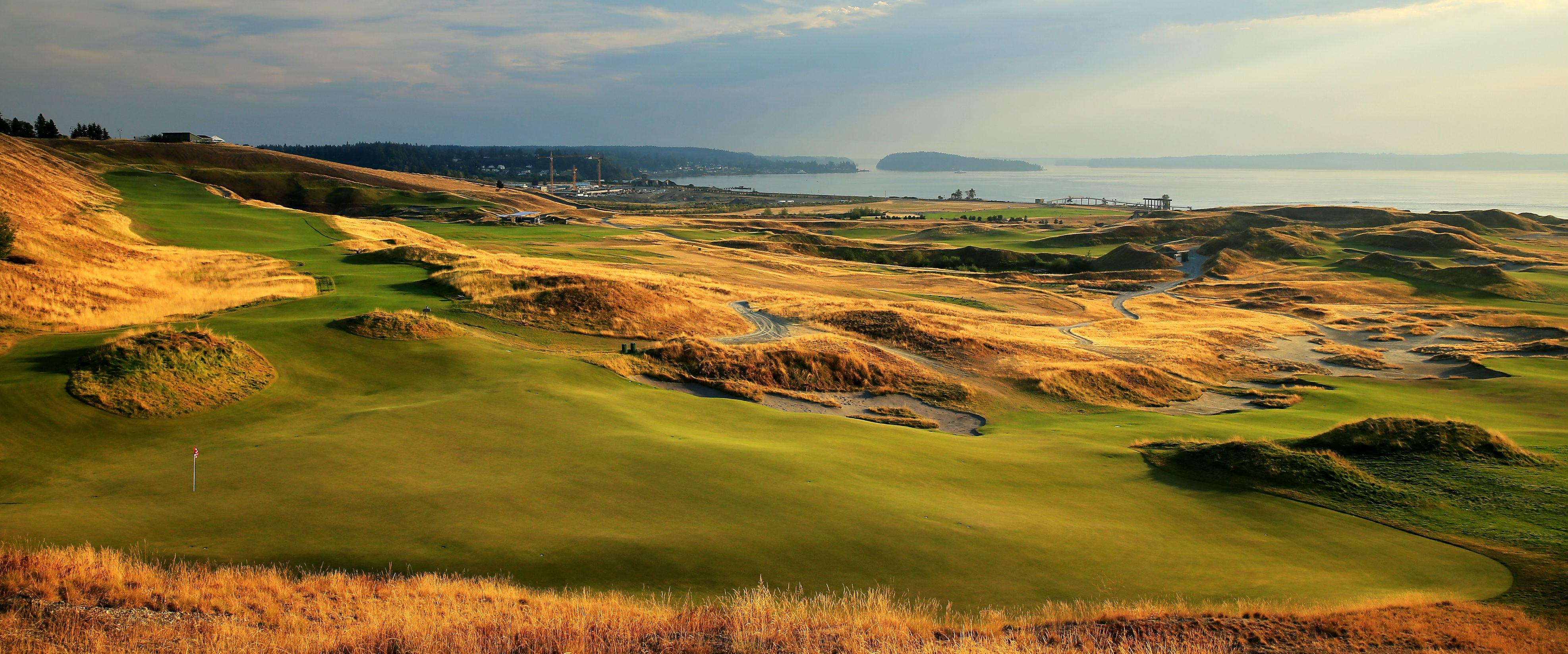 Der Blick auf das siebte Grün von Chambers Bay. (Foto: Getty)