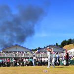 Rauch über dem Chambers Bay Golf Club.