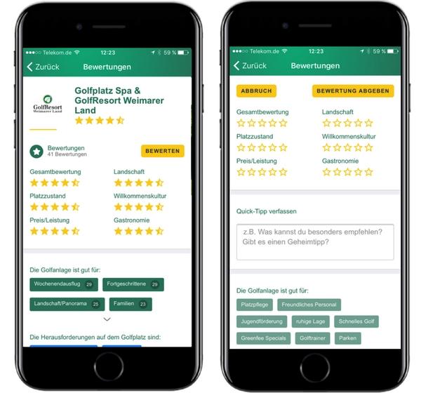 So sehen sie aus: Die Bewertung der Golfplätze in der App. (Foto: Golf Post)