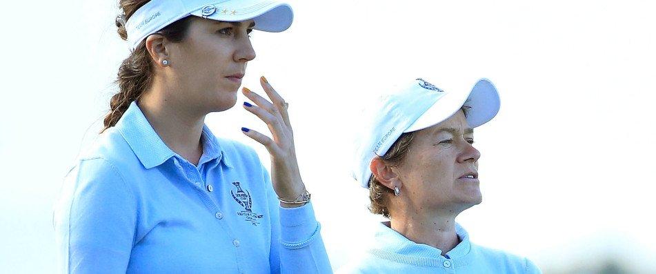 Sandra Gal und Catriona Matthew gewinnen ihr Foursome-Match beim Solheim Cup. (Foto: Getty)