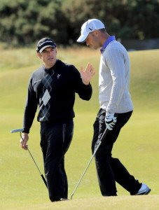 Oscar Pistorius mit Paul McGinley bei der Alfred Dunhill Links Championship 2012.