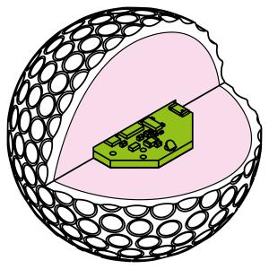Der Bluetooth-Transmitter im Kern des Balles (Foto: Indiegogo)