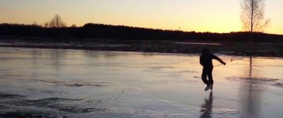 Schweden Golfen auf Schlittschuhen