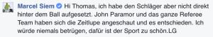 Marcel Siem äußert in einem Facebook-Kommentar seine Sicht der Dinge. (Foto: Facebook)