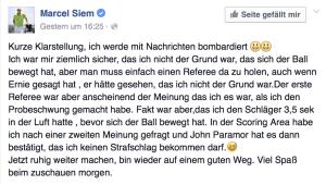 Marcel Siem nimmt Stellung zur Regelauslegung. (Foto: Facebook)