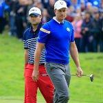 Patrick Reed und Henrik Stenson während ihres Einzelmatches beim Ryder Cup 2014. (Foto: Getty)