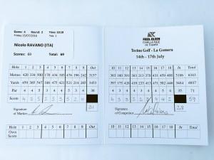 Nicolo Ravanos Scorekarte. (Foto: Challenge Tour/Twitter)
