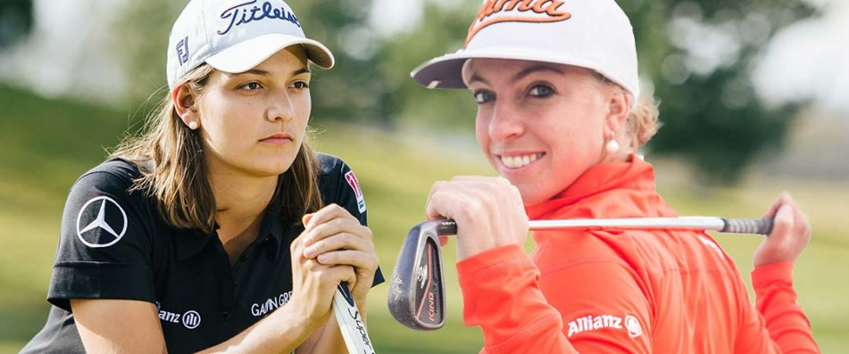 Karolin Lampert (l.) und Sophia Popov schlagen beide in Düsseldorf beim Ladies European Masters im September ab.