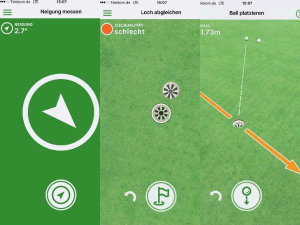 Die drei Schritte der Puttmee App im Überblick. (Foto: Screenshots)