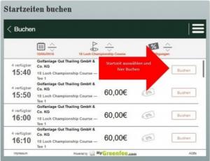 Gewünschte Zeit auswählen und buchen auf golfpost.de (Foto: Golf Post)