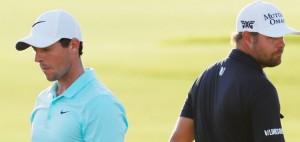 Gestern noch im Zweikampf um den Sieg bei der Tour Championship, könnten Ryan Moore (re.) und Rory McIlroy (li.) beim Ryder Cup in Hazeltine erneut aufeinander treffen. (Foto: Getty)