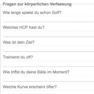 Ein Teil des Fragebogens. (Foto: Screenshot golf-doktor.de)