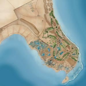 Übersicht über Golfplatz und Hotels auf Somabay