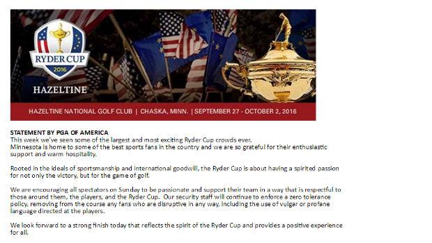 Die PGA of America fordert die Fans zu respektvollerem Verhalten auf. (Screenshot: PGA of Amercia