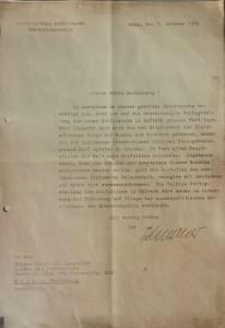 In einem Brief bittet Konrad Adenauer um die Fertigstellung des Platzes. (Foto: Golf- und Land- Club Köln)