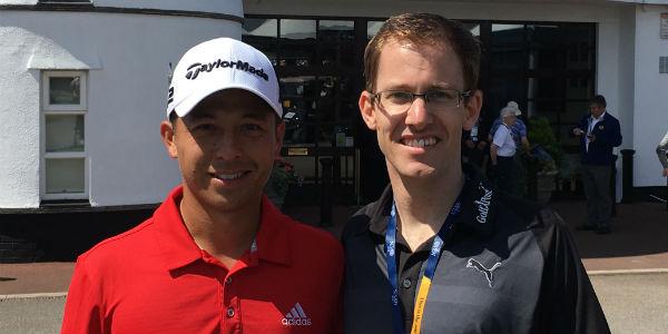 Golf Post Redakteur Lars Kretzschmar (r.) trifft Xander Schauffele am Rand der British Open in Royal Birkdale.