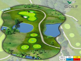 Das Grün von Bahn 8 finden Sie als Panorama im Golfkalender 2018. (Foto: Golf & Country Club Fliesensee)