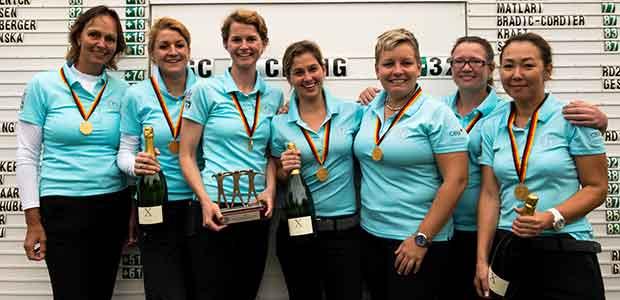 Freude bei den Damen des GC Olching über den Premierensieg bei der DMM der Damen in der Altersklasse 30 (Foto: DGV/Langer Sport Marketing)