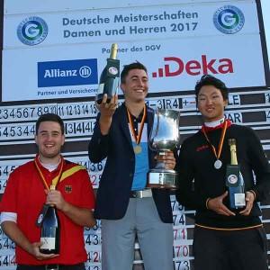 Das Podest der Herren (v.l.n.r.): Max Schmitt (GC Rheinhessen), Marc Hammer (GC Mannheim-Viernheim) und David Li (Kölner GC). (Foto: DGV/stebl)