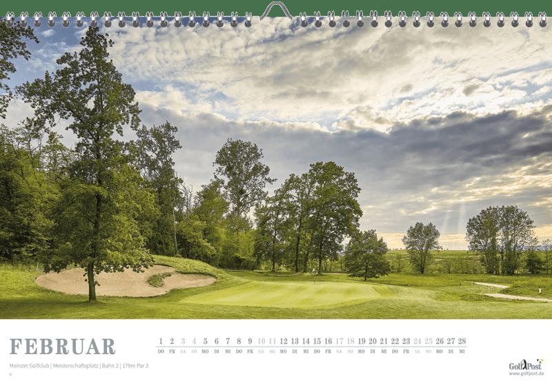 Das Panorama des Grüns von Bahn 2, zu sehen im Februar des Golfkalenders 2018. (Foto: Golf Post)