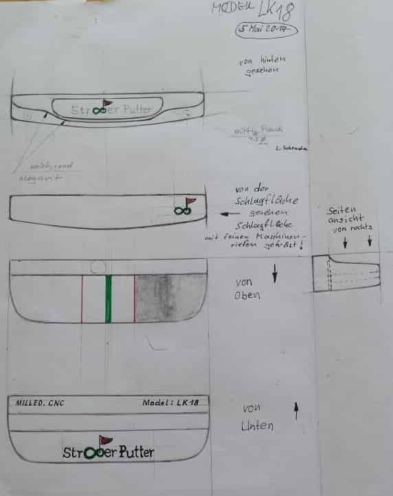 Die ersten Ideen werden ganz klassisch mit Papier und Blei festgehalten. (Foto: Straighter Putter)