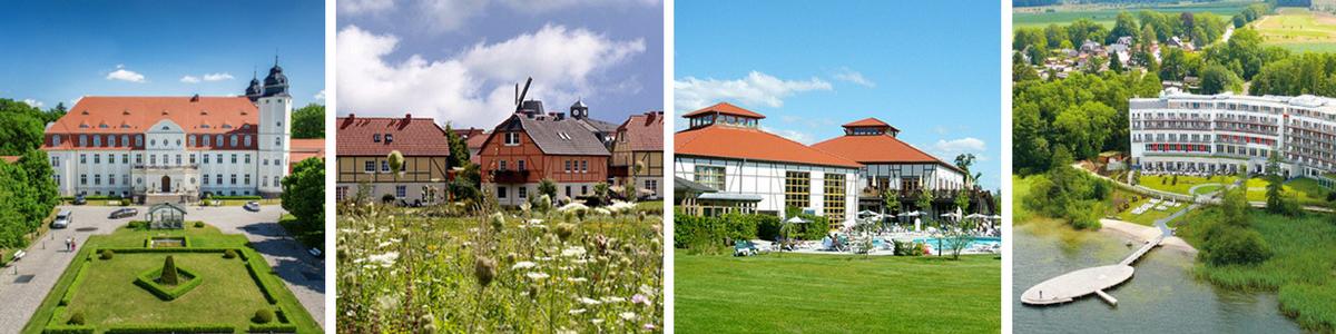 Gleich vier Hotels stehen für einen Golfurlaub zur Verfügung. Von Links: SCHLOSS Hotel, DORFHOTEL, TUI BLUE und ROBINSON Hotel.
