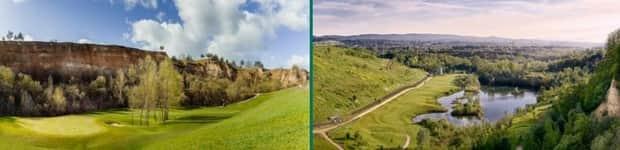 Die beeindruckende Kulise des Steinbruchs (links) und ein wunderschönes Rheingau-Panorama (rechts) im Mainzer Golfclub. (Fotoquelle: Mainzer Golfclub)