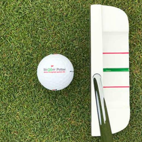 Wenn es darum geht sich perfekt auf das Ziel auszurichten, eignet sich das Linien-System von Straighter Putter sehr gut. (Foto: Straighter Putter)