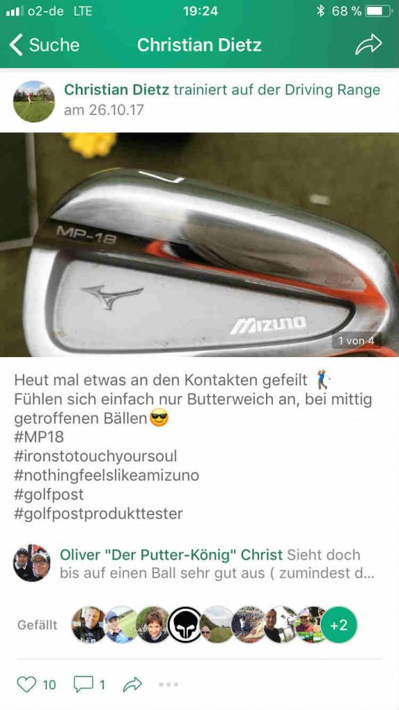 """Auch in der <a title=""""Golf Post App"""" href=""""https://app.golfpost.de"""" target=""""_blank"""">Golf Post App</a> wurde fleißig von den Eindrücken der Eisen berichtet. (Foto: Golf Post)"""