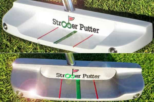 Beim Straighter Putter CW-14 Modell (oben) kamen die Ausrichtungslinien nicht in dem Maße zur Geltung wie bei dem neuen LK-18 Modell (unten). (Foto: Straighter Putter / Golf Post)