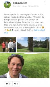 Golf Post Redakteur Robin Bulitz nahm den Platz des Belgian Knockouts zusammen mit zwei Usern und seinem Kollegen, Johannes Eck, unter die Lupe. (Foto: Golf Post App)